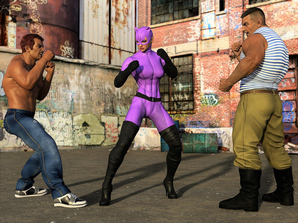 Catwoman fights two thugs 1