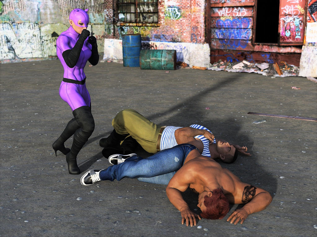 Catwoman fights two thugs 26 by DahriAlGhul