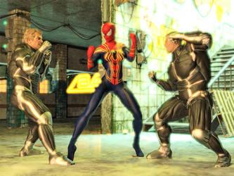 Iron Spider Girl vs Two Mercenaries 01 by DahriAlGhul