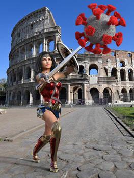 Wonder Woman fights the coronavirus in empty Rome