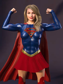Supergirl shows off her guns: portrait