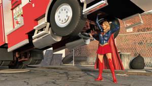 Supergirl lifts a fire truck: wallpaper