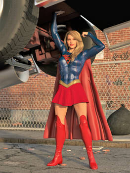 Supergirl lifts a fire truck B