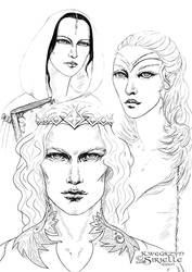 Finarfin, Idril Celebrindal and Anaire by Sirielle