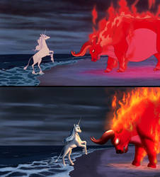 The Last Unicorn Screencap Redraw Comparison by MykeGreywolf