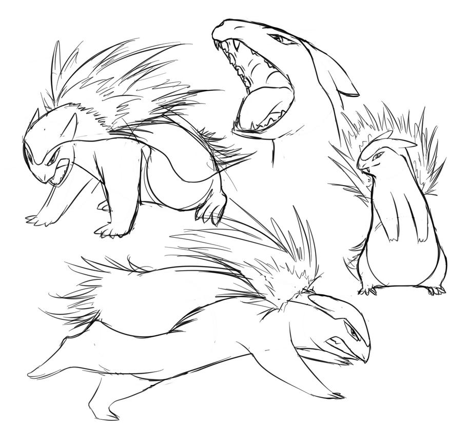 Typhlosion Studies by MykeGreywolf