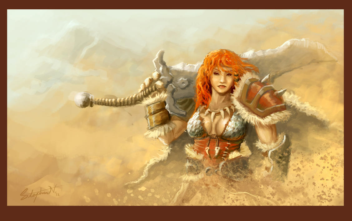 Red Barbarian - Diablo 3 by SteveSketches