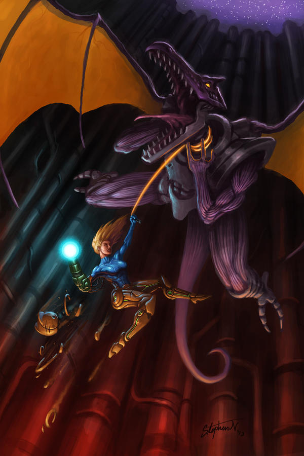 Metroid - Samus vs Ridley by SteveSketches
