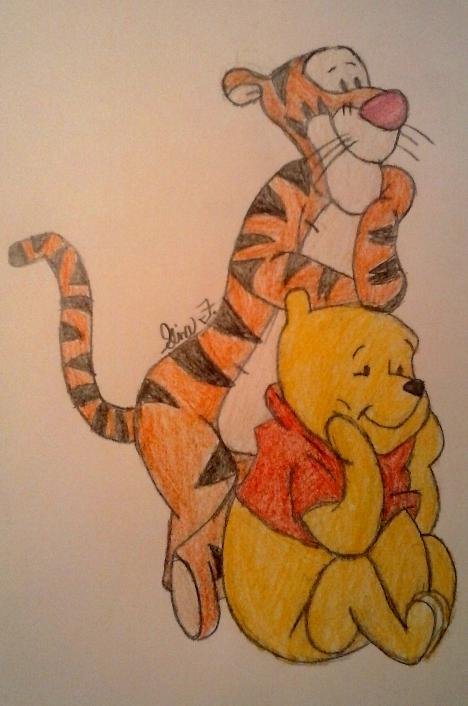 Winnie the Pooh and Tigger by LOZRocksmysocks77