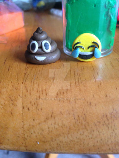 Polymer Clay Poop and Laughing Emoji Charm by Storm-Grey on DeviantArt