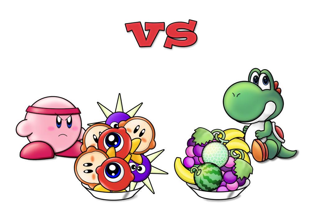 Yoshi vs kirby by froggyjoseguy on DeviantArt