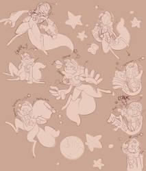 Scarfox DTA Sketches by EggsCargo