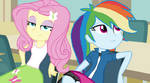 Fluttershy and Rainbow Dash in the lunch room