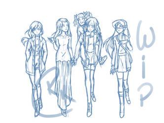 WIP Virtue Senshi civilian girls by Rachel8889