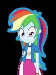 Human Rainbow Dash is embarrassed.