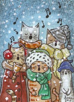 Feline Carollers ACEO by liselotte-eriksson