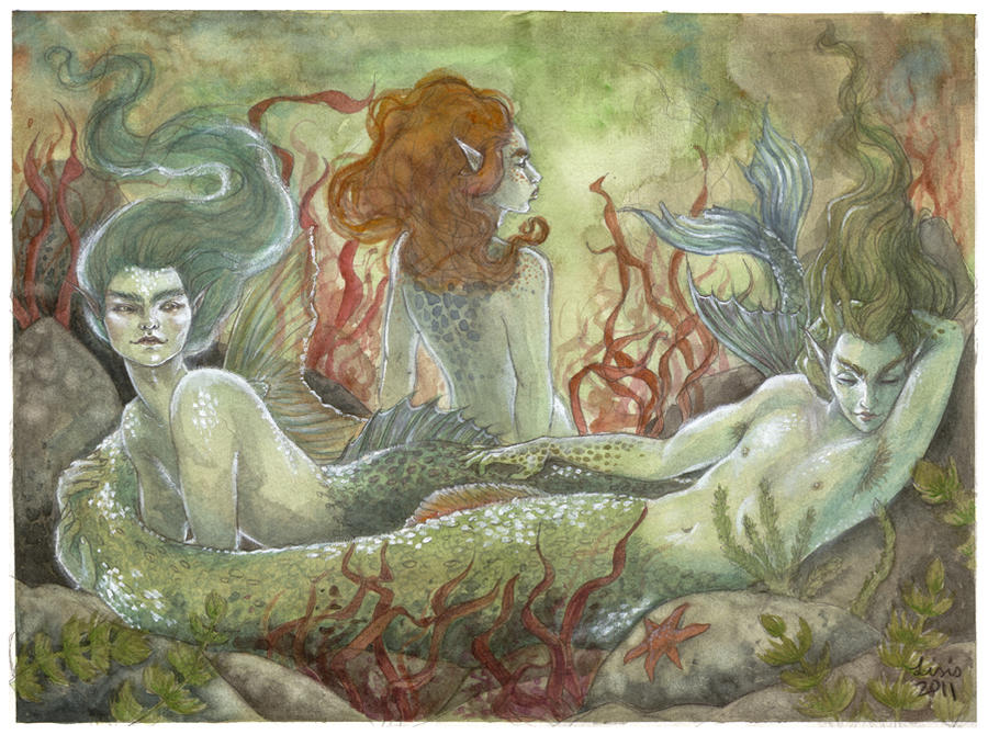 Chillaxing Mermen by liselotte-eriksson
