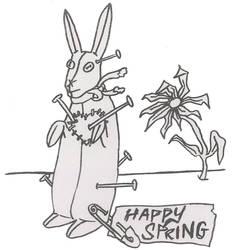 Grey spring bunny