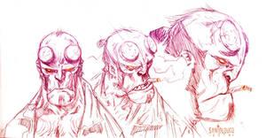 Hellboy_sketch by Santolouco