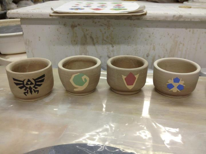 Zelda: Ocarina of Time Sake Cups (unfinished) by Artistic-Vixen