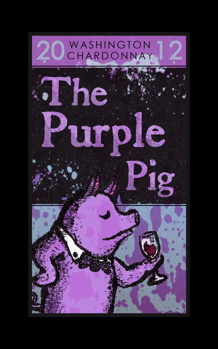 The Purple Pig Wine Label V1 by StickstoMagnet