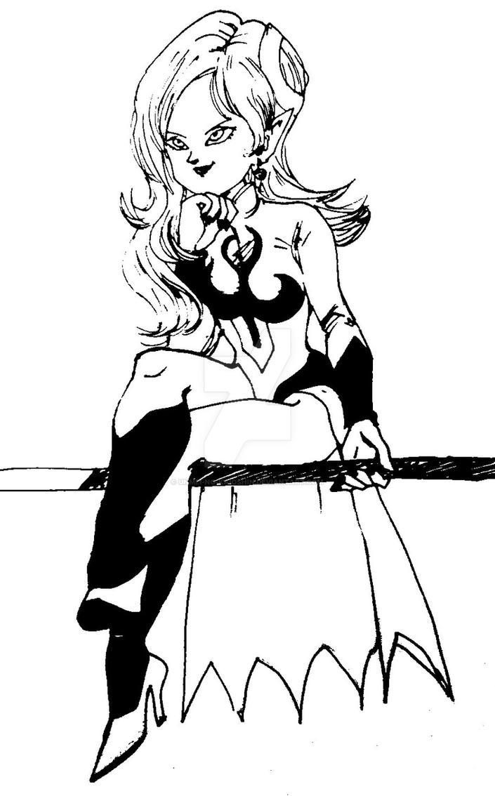 Towa sitting on her staff by Unmei-no-kaioshin