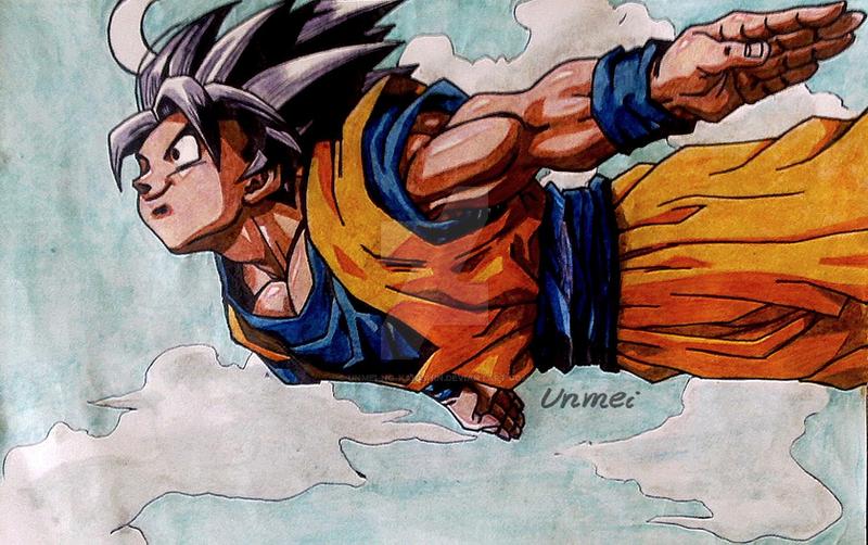 Goku flying by Unmei-no-kaioshin