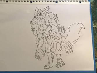 Peri Longfox Anthro Great Wolf Demon Form