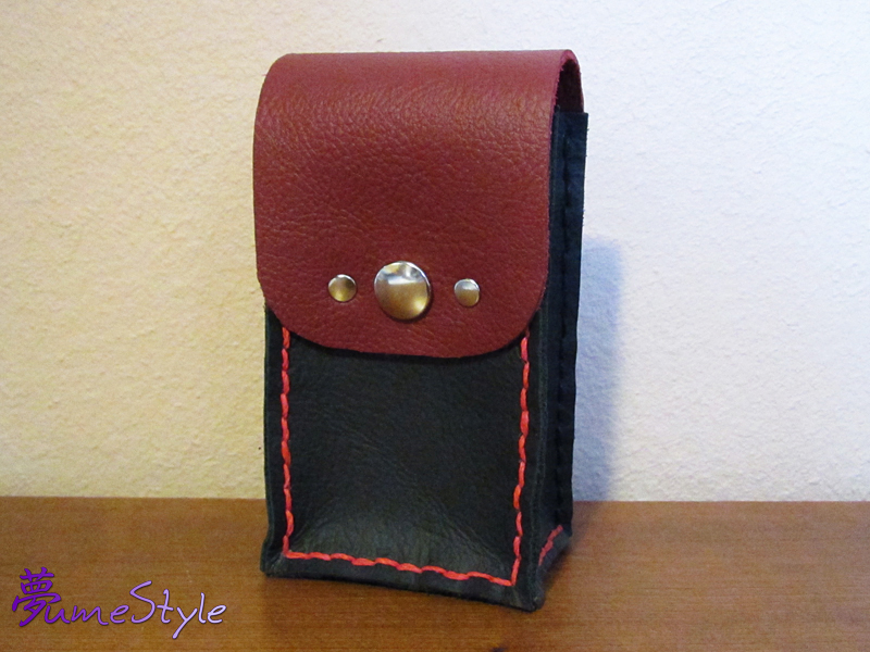 Red and Black Leather Pouch by Sarinilli