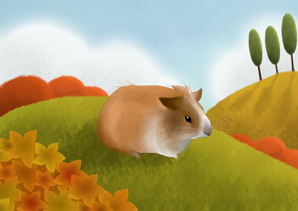 A Guinea Pig - Sample Children's Book Illustration by darthfilart