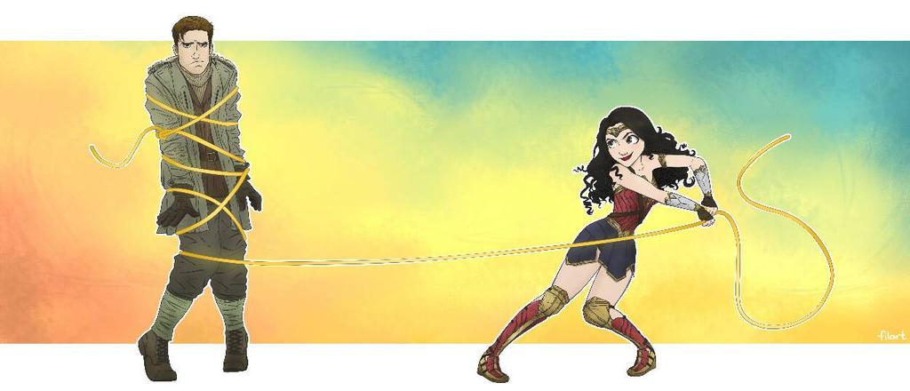 Wonder Woman and Tangled Trevor by darthfilart
