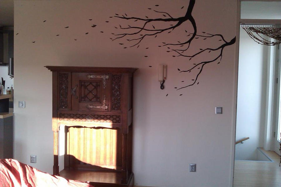 Black windy tree mural by morninghasbroken on deviantart for Black tree mural