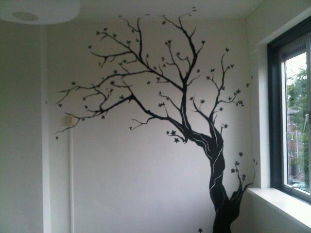 Black ink tree mural by morninghasbroken on deviantart for Black and white tree mural