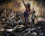 Michonne guidant le Peuple de la Prison by Leonardo-Lambrecht