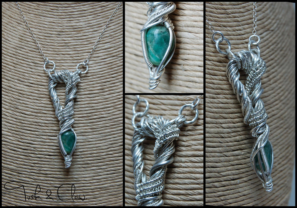Raw Emerald and Sterling Silver Wire Wrap Necklace by tuskandclaw on ...
