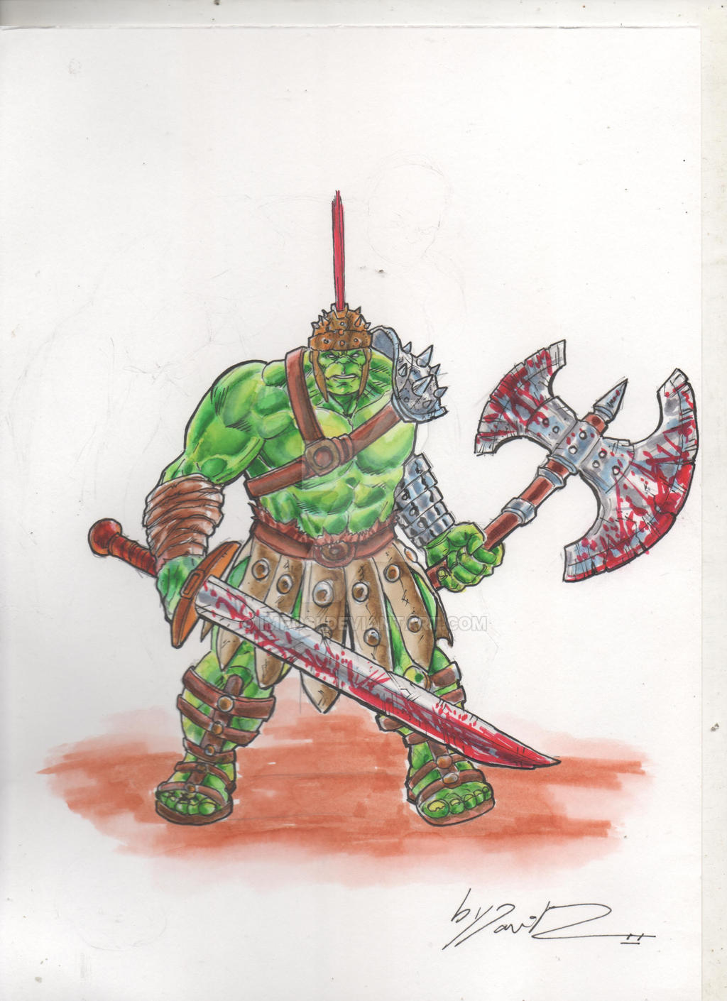 hulk gladiator planet hulk color commision by imposi on