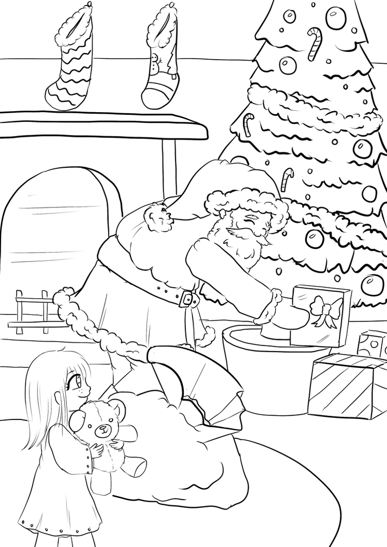 Colouring in santa - Santa Visits Colouring In Page By Toddlergirl