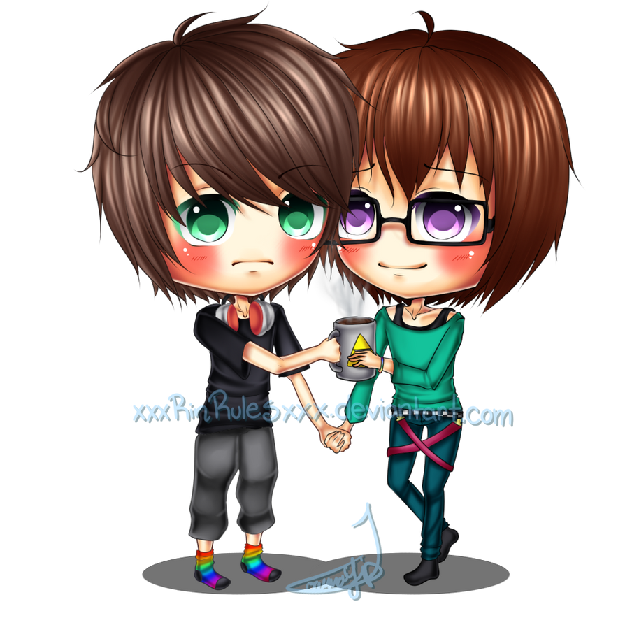 Anime Characters Holding Hands : C chibi couple tyler and brian by xxxrinrulesxxx on