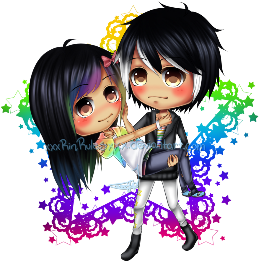C: Chibi couple Aura and Jay by xxxRinRulesxxx