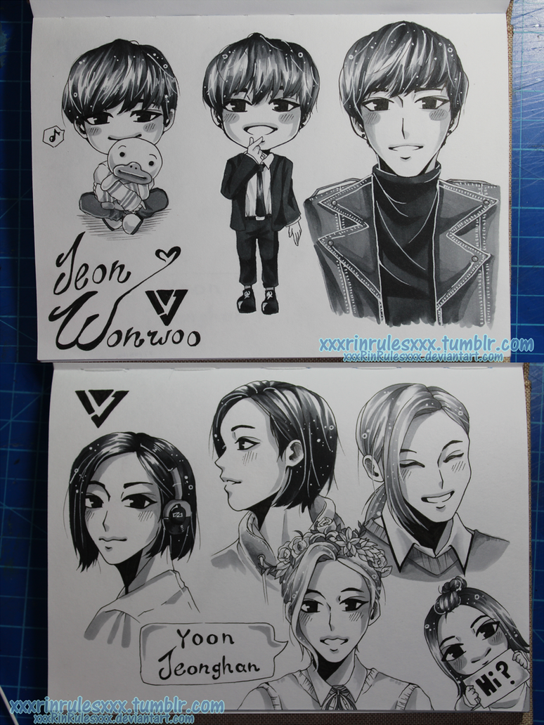 Wonwoo and Jeonghan Sketch pages by xxxRinRulesxxx