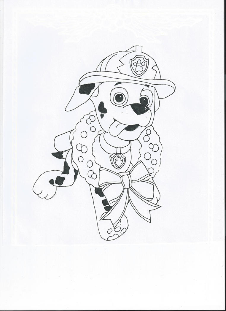 Paw patrol coloring pages christmas - Paw Patrol Marshall By Pawpatrolfan66 On Deviantart