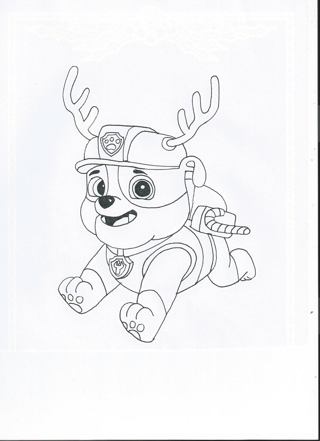 Paw patrol christmas rubble by pawpatrolfan66 on deviantart for Rubble paw patrol coloring page