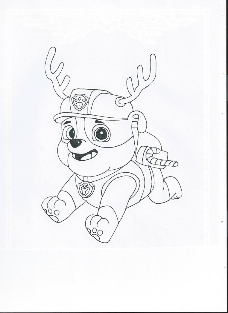 Paw patrol coloring pages christmas - Paw Patrol Christmas Rubble By Pawpatrolfan66