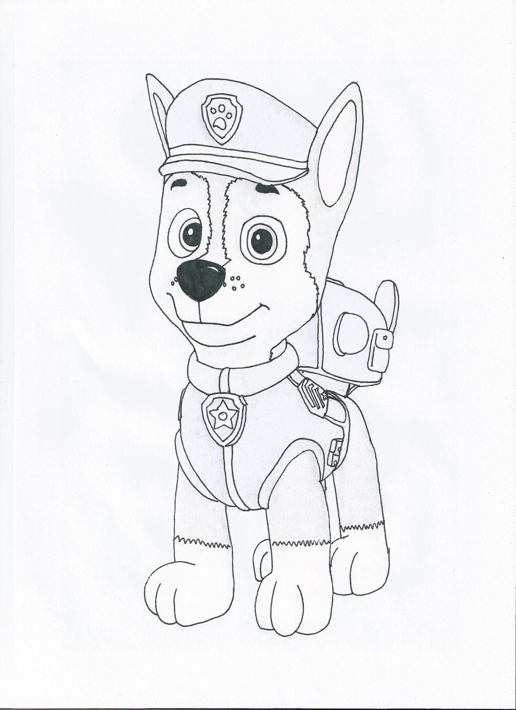 Paw patrol chase by pawpatrolfan66 on deviantart for Chase coloring page