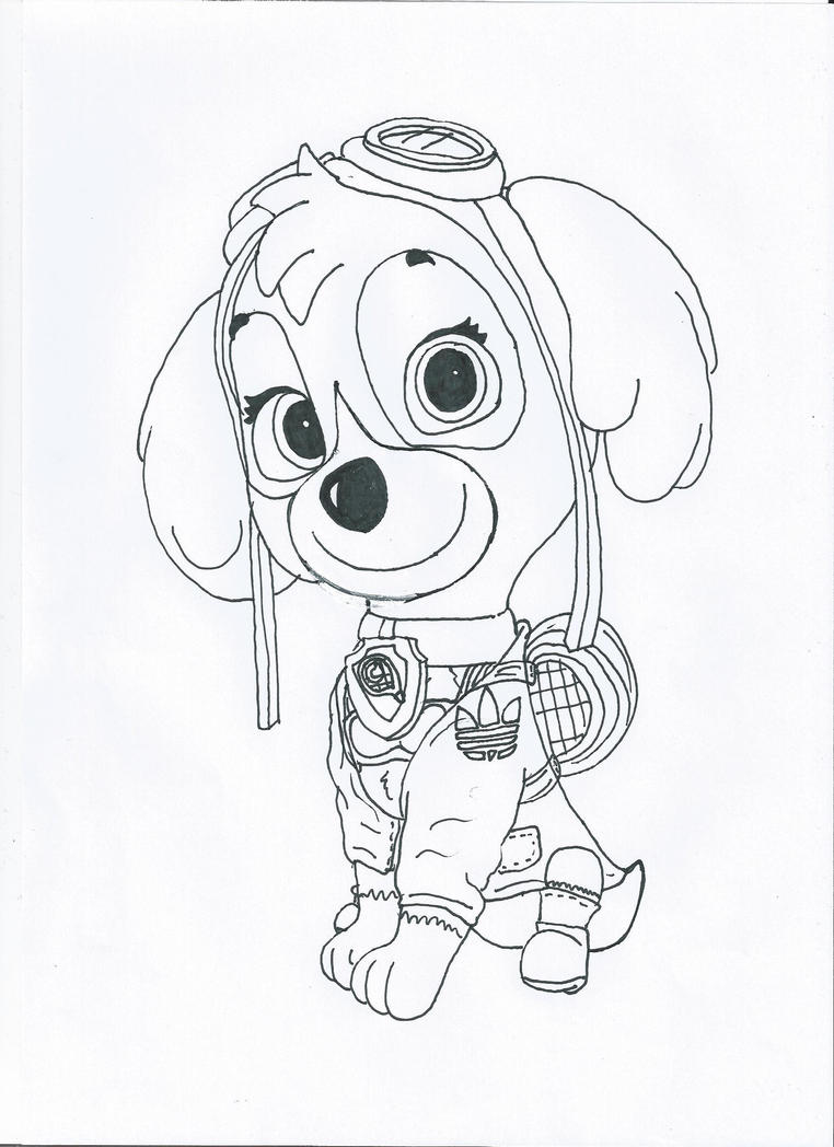 It is a picture of Stupendous Skye Paw Patrol Drawing