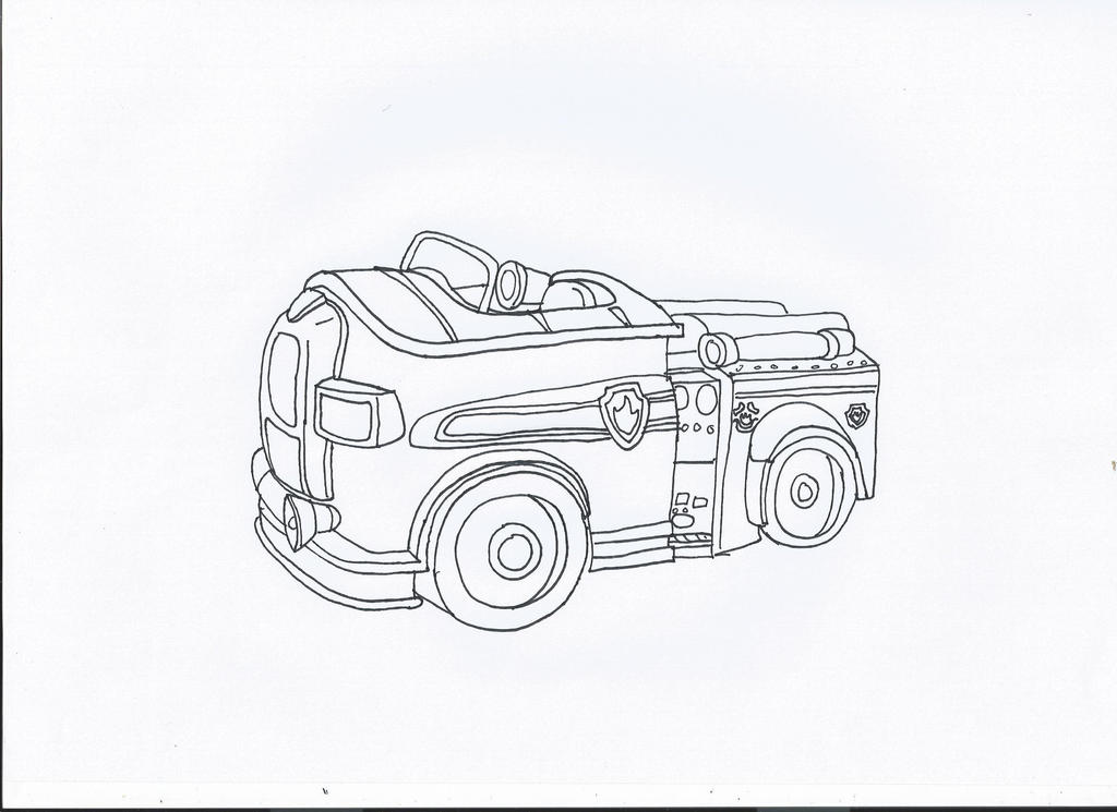 Paw Patrol Car Coloring Pages : Paw patrol chase police car coloring page pages