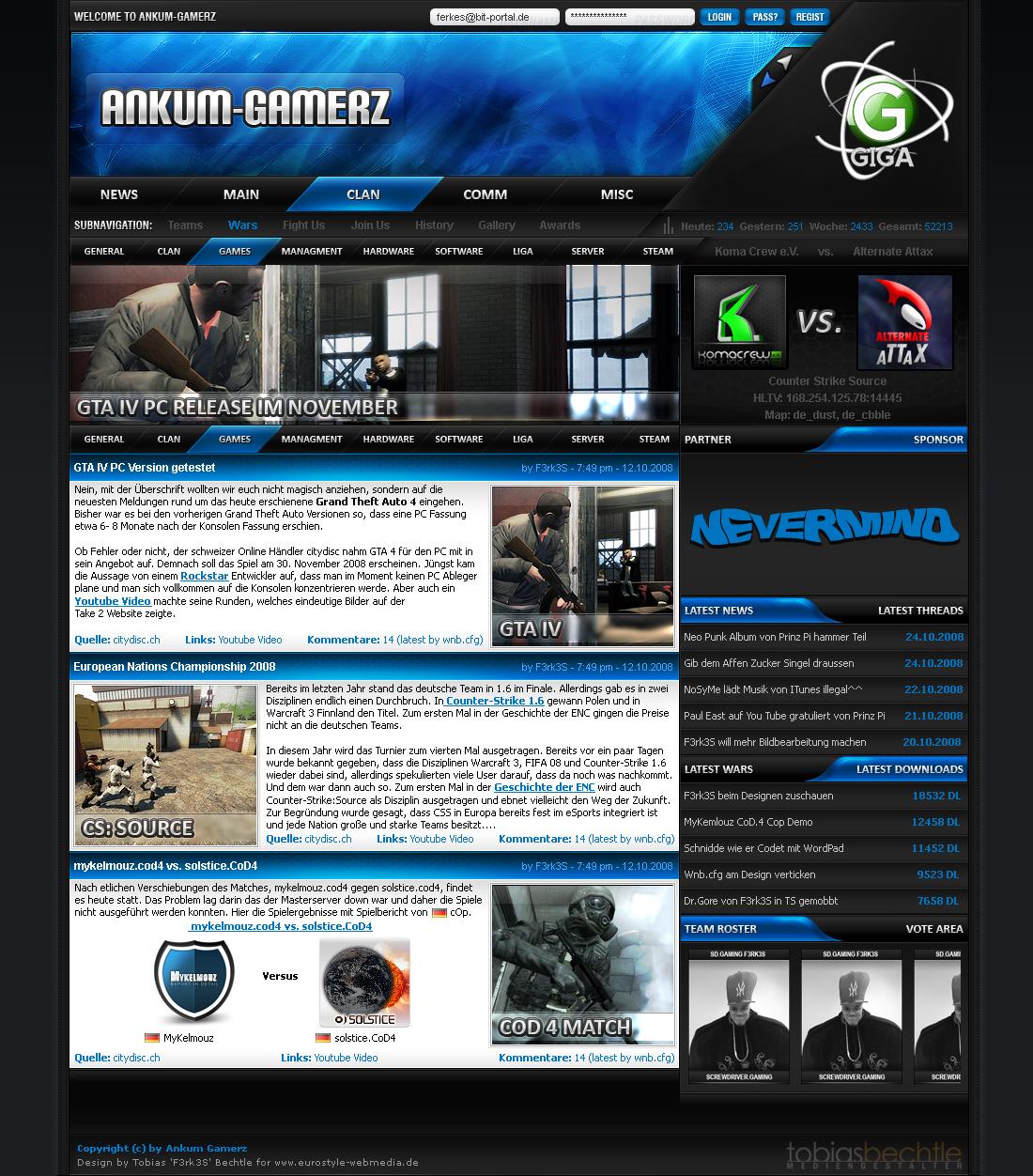 Ankum-Gamerz Screendesign