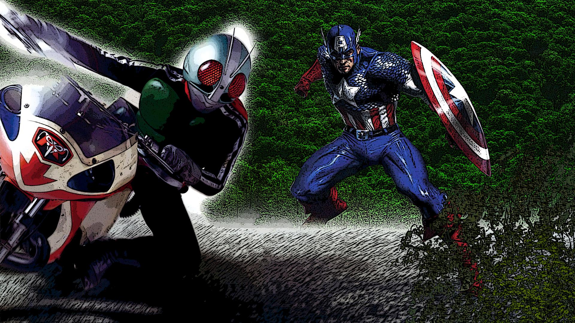 Marvel Captain America Vs Kamen Rider 1 by Digger318