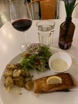 A Glass of Wine and Norwegian Salmon