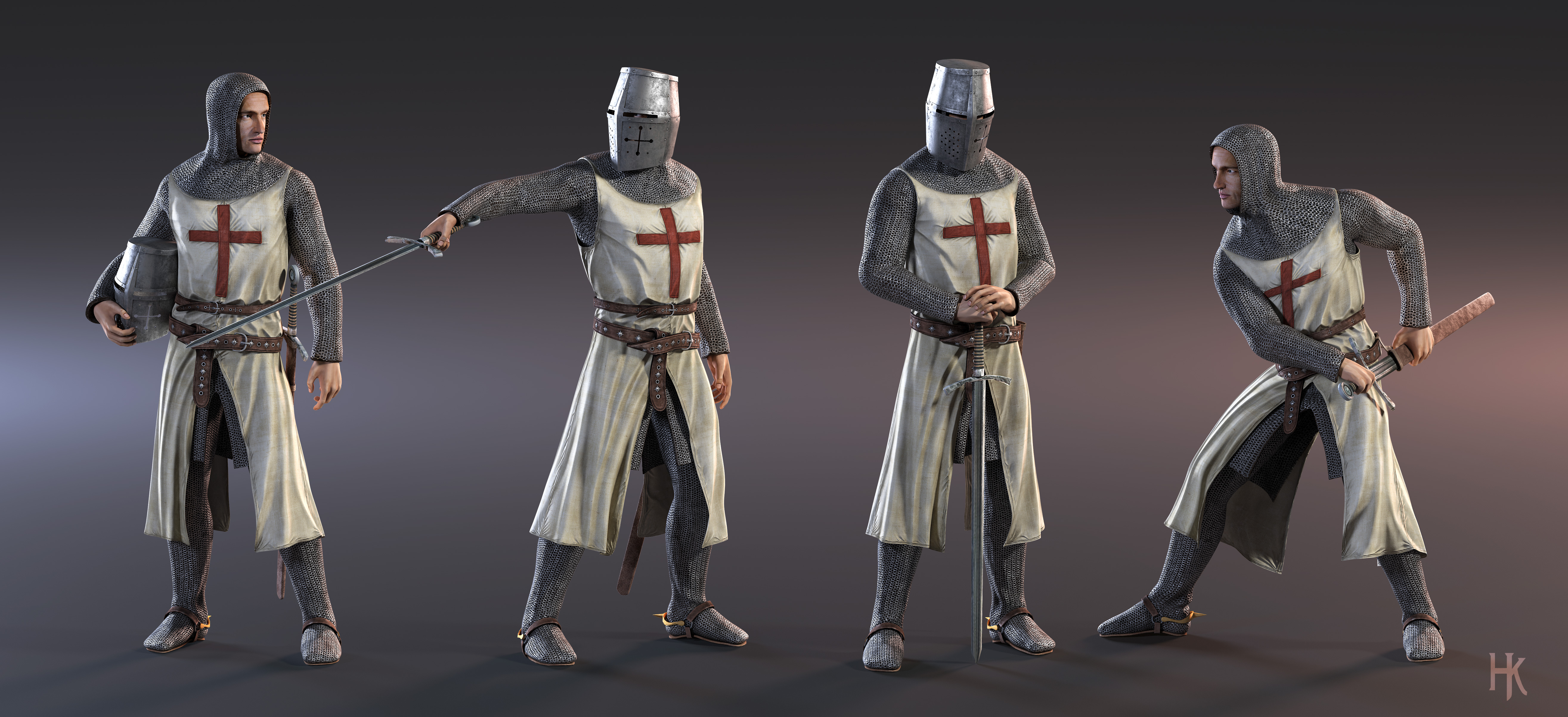 3d character model knight templar by macx85 on deviantart for Decor 3d model